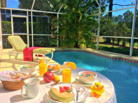 A poolside breakfast at your Disney vacation home